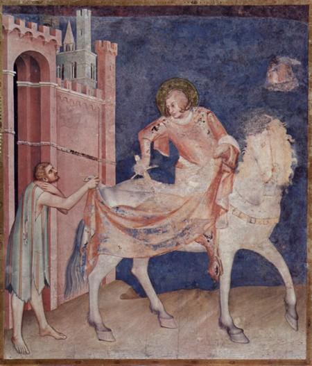Simone Martini, Martino rinuncia alle armi. Assisi, Basilica inferiore di San Francesco (sec. XIV)